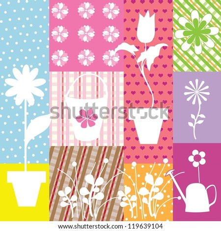 applique background with white flowers vector illustration - stock vector
