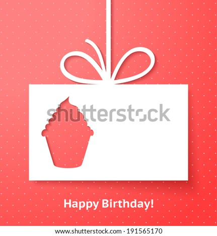 Applique card or background with cupcake - stock vector