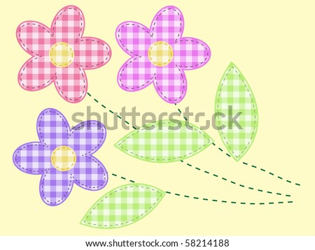 applique flowers from checkered fabric - stock vector