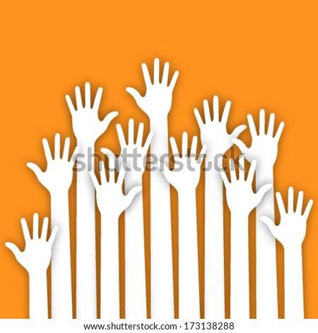 Applique of up hands, material design vector illustration  - stock vector