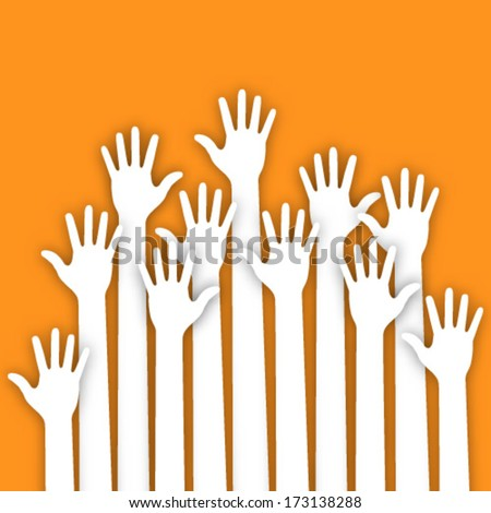 Applique of up hands, vector illustration  - stock vector