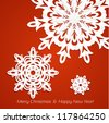 Applique snowflakes Christmas card on juicy festive red background - stock vector