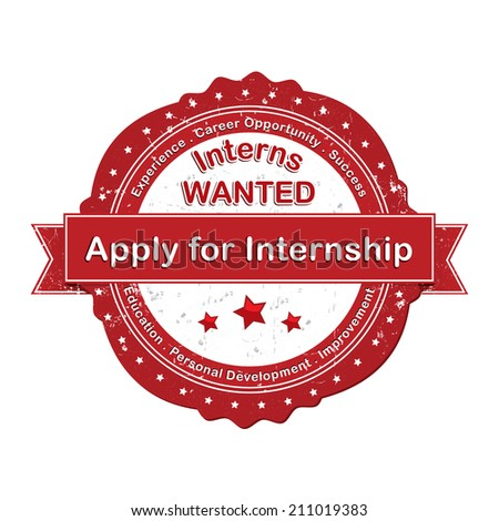 Apply for Internship - red label / icon. Red grunge Stamp for Internship recruitment.