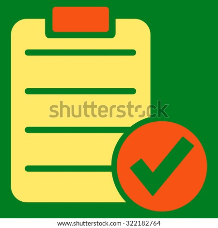 Apply Form vector icon. Style is bicolor flat symbol, orange and yellow colors, rounded angles, green background.