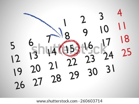 Appointment in a generic calendar for marking an important date - stock vector