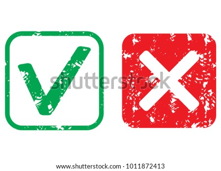 Approval and rejection rubber stamp texture. Vector rubber seal mark, stamp imprint illustration