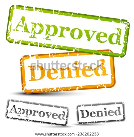 Approve and denied rubber stamps with weathered, grungy texture (with opacity mask) - stock vector