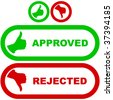 Approved and rejected icons. - stock photo