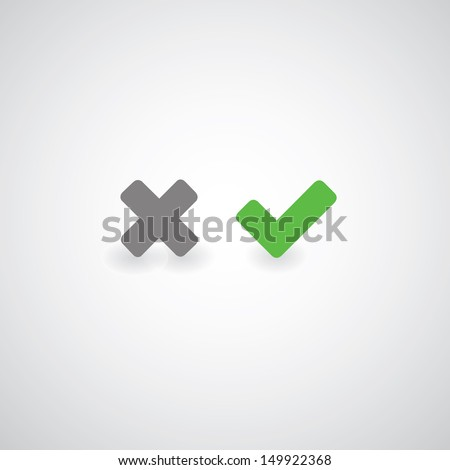 Approved and rejected symbol on gray background - stock vector