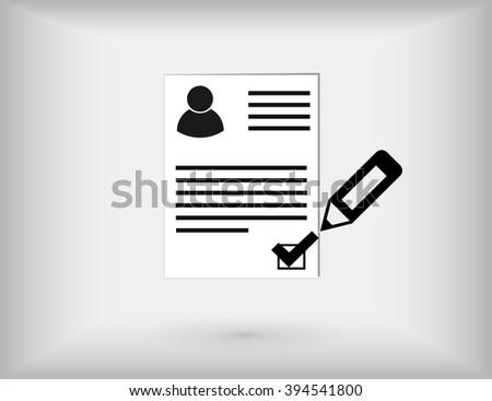 Approved Curriculum Vitae. cv, curriculum vitae check mark sign concept illustration design over grey backgraund. - stock vector