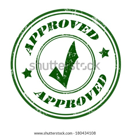 Approved grunge rubber stamp green on white, vector illustration - stock vector
