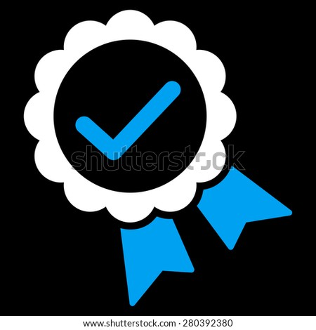 Approved icon from Competition & Success Bicolor Icon Set on a black background. This isolated flat symbol uses light blue and white colors. - stock vector