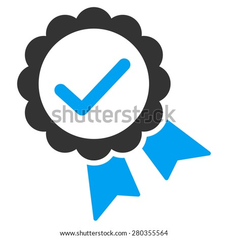 Approved icon from Competition & Success Bicolor Icon Set. This isolated flat symbol uses modern corporation light blue and gray colors. - stock vector