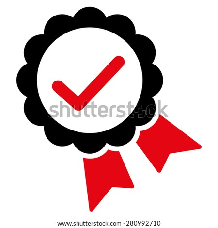 Approved icon from Competition & Success Bicolor Icon Set. This isolated flat symbol uses modern corporation intensive red and black colors. - stock vector