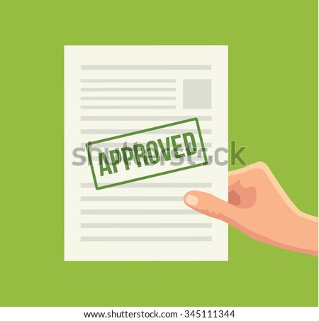 Approved paper document. Vector flat illustration - stock vector