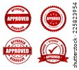 Approved red grunge rubber stamp collection on white, vector illustration - stock photo