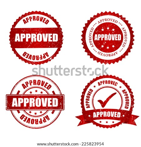 Approved red grunge rubber stamp collection on white, vector illustration - stock vector