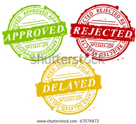 Approved, rejected, delayed stamps - stock vector