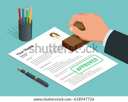 Approved Stamp Hand Businessman Approved Document Stock