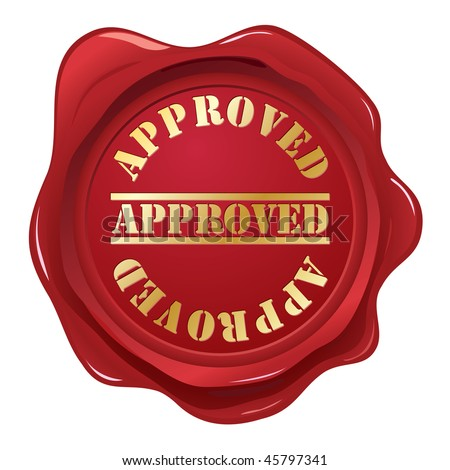 Approved wax seal - stock vector