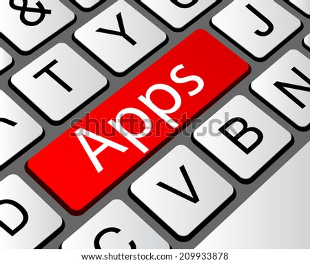 Apps Concept. Button on Modern Computer Keyboard with Word Apps on It.  - stock vector