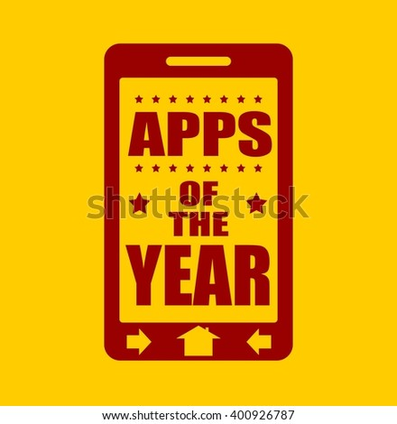 Apps of the year text on phone screen.  Abstract touchscreen with lettering.