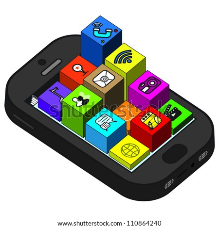 Apps on top of blocks coming out of smartphone. - stock vector