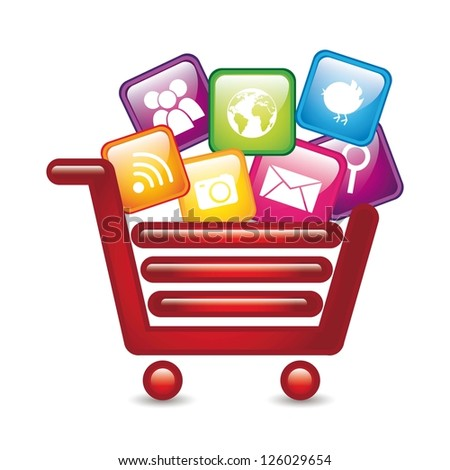 apps over shopping cart, app store. vector illustration - stock vector