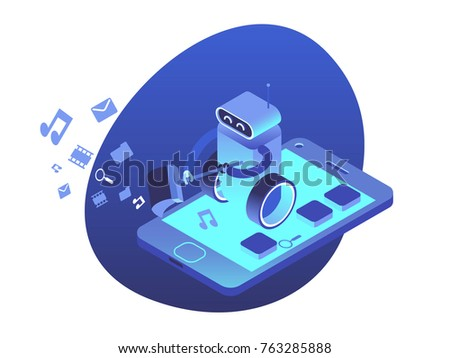 Apps security system. Robot clears smartphone from unnecessary applications and files. Automatic cleaner isometric illustration.
