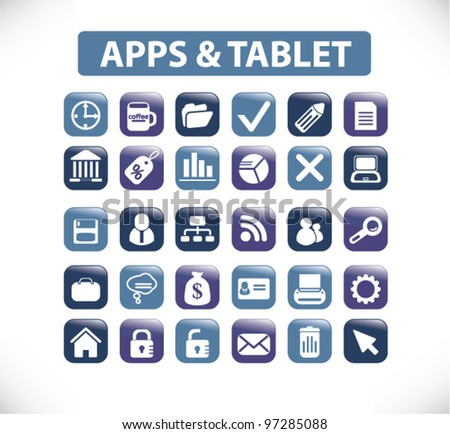 apps & tablet icons & buttons, vector