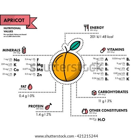 Apricot - nutritional information. Healthy diet. Simple flat infographics with data on the quantities of vitamins, minerals, energy and more.