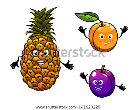 Apricot, pineapple and plum fruits in cartoon style or idea of logo. Jpeg version also available in gallery - stock vector