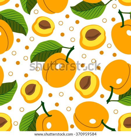 Apricot. Vector seamless background with apricots on white background. Vegetarian. Elements for your design.Textile and wallpaper background. Series of food and drink and ingredients for cooking. - stock vector