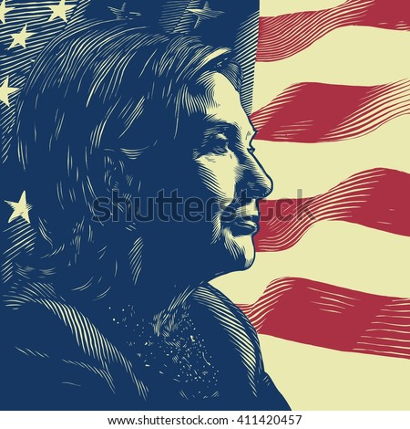 April 26, 2016: A vector illustration showing Democrat presidential candidate Hillary Clinton on national flag background done in hand draw style