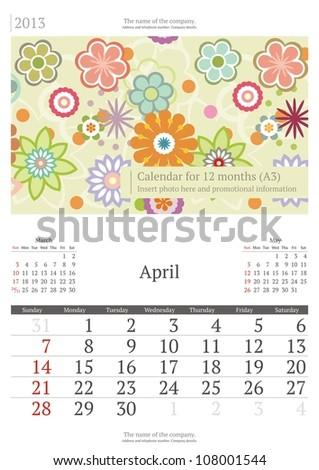 April. 2013 calendar. - stock vector