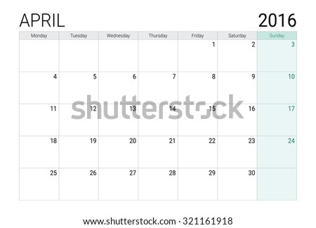 April 2016 calendar (or desk planner) - stock vector