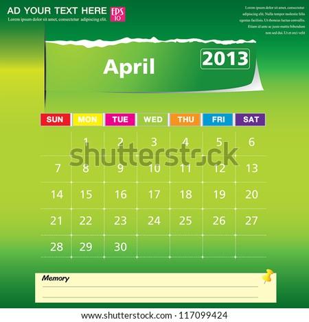 April 2013 calendar vector illustration - stock vector