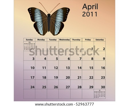 April 2011 calendar with butterfly - stock vector