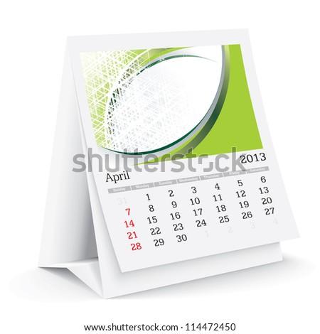april 2013 desk calendar - stock vector