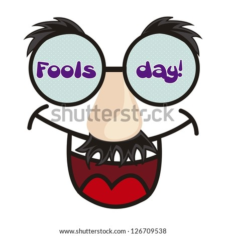 april foods day illustration with fun face. vector background - stock vector