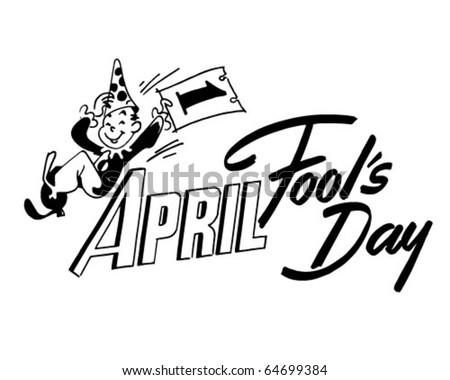 April Fool's Day - Ad Header - Retro Clipart - stock vector