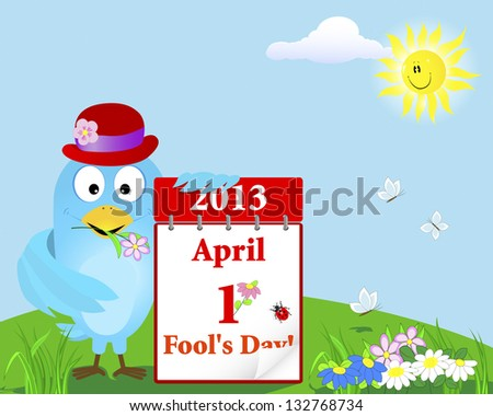 April Fool's Day. Blue Bird in the hat with the calendar against the sky with a smiling sun. Vector illustration. - stock vector