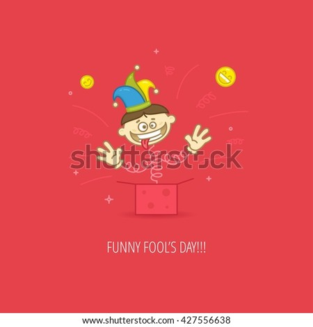 April Fool's Day Celebration flat design template for greeting cards, posters and banners. Vector Jack-in-a-box in jester hat on red color background - stock vector
