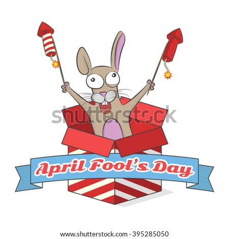 April fool's day. Crazy rabbit with fireworks from box. Vector illustration - stock vector