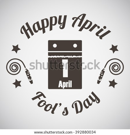 April fool's day emblem with calendar. Vector illustration. - stock vector