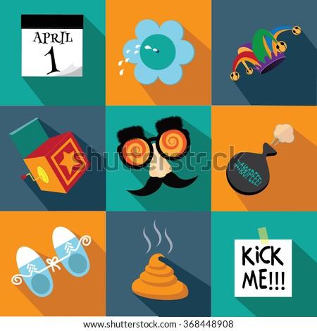 April Fools Day flat design icon set. EPS 10 vector illustration - stock vector