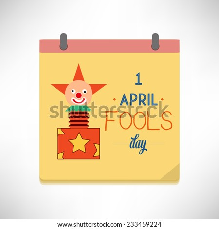 April 1 Fools Day flat design vector illustration on calendar page. - stock vector