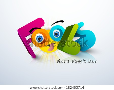 April Fools Day funky concept with stylish colorful funky text on blue background.  - stock vector