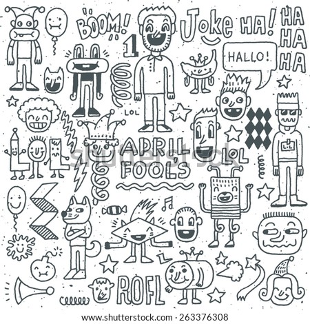 April fools day funny doodle set 2. Vector illustration. Hand drawn.