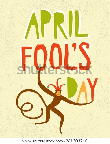 April Fools Day illustration with cartoon monkey in a jester hat. - stock vector
